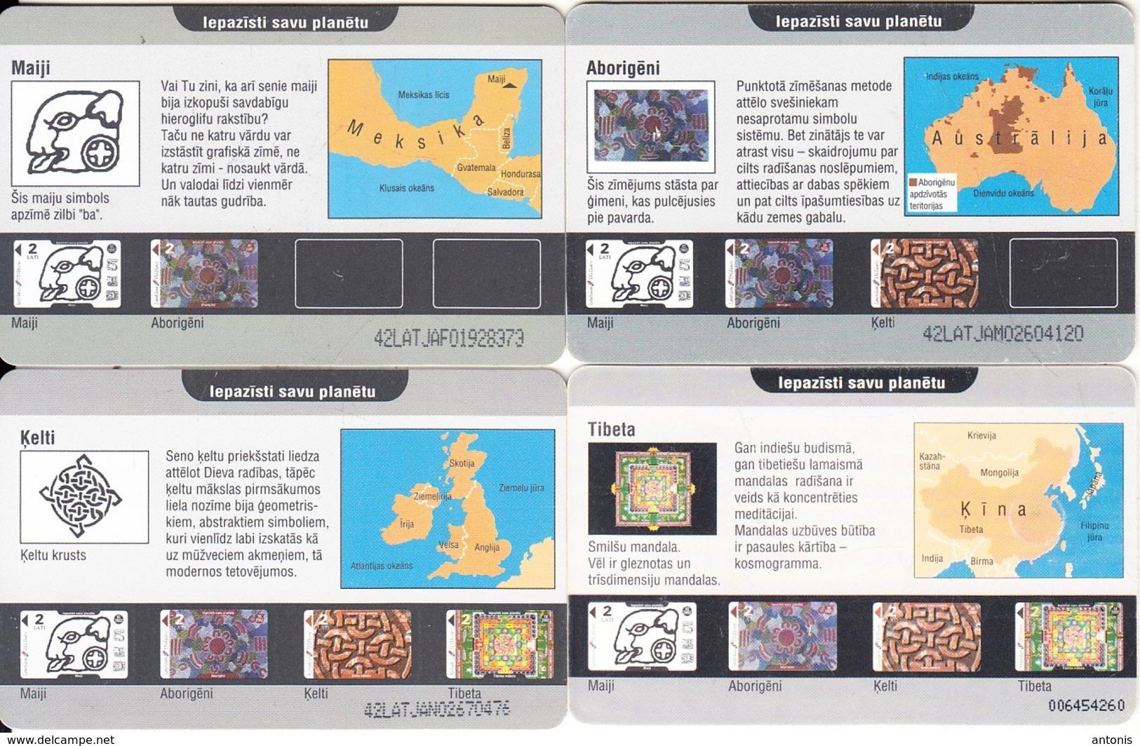 LATVIA - Set Of 4 Cards, Mayan-Aboriginal-Celtic-Tibetan Art, Exp.date 02-06-08-10/02, Used - Phonecards