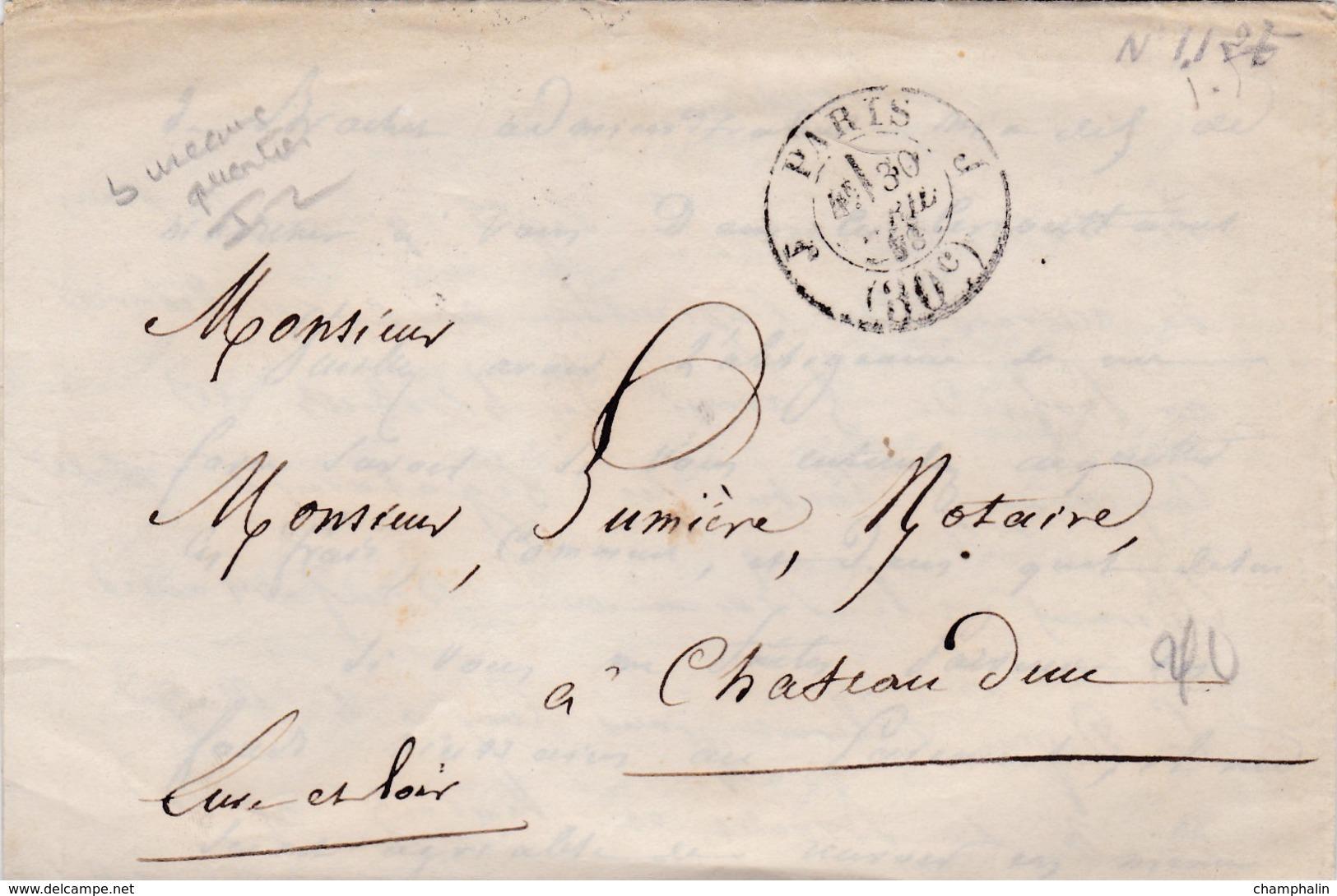 LAC De Paris (75) Pour Châteaudun (28) - 30 Avril 1858 - CAD Rond Type 15 - Cachet Port Dû 30c + Ambulant - 1849-1876: Periodo Classico