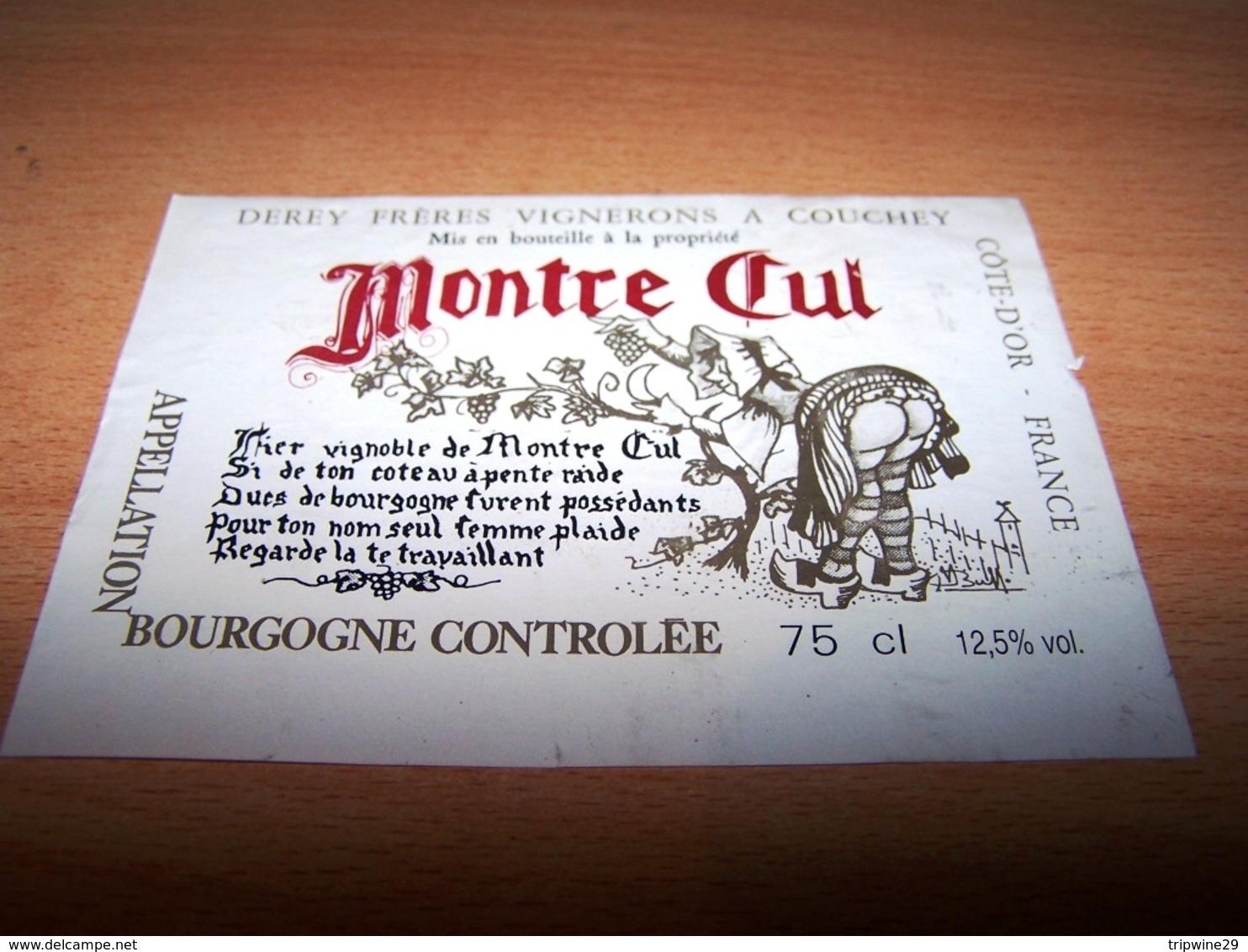 Etiquette Vin Wine Label Erotique Sexy Sexe Coeur Femme Nu Sein Humour Bourgogne Montre Cul Derey Couchey - Érotique