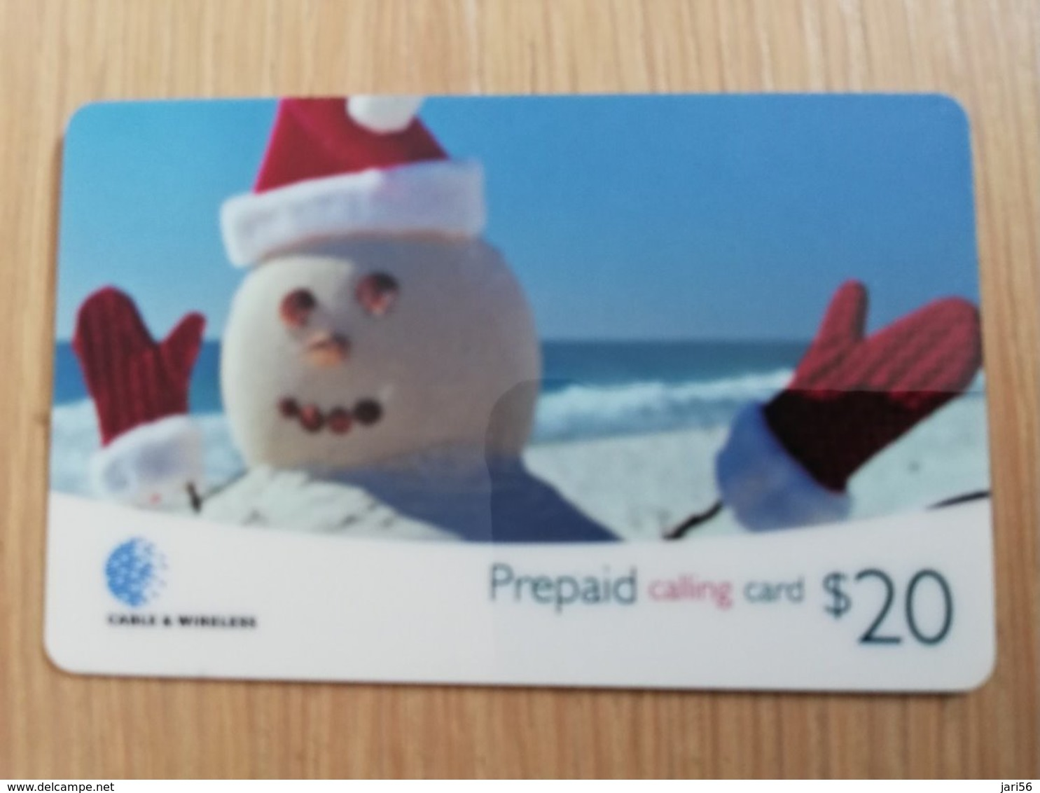 CAYMAN ISLANDS  $20,- CAY-54 SNOWMAN (R) Prepaid Fine Used Card  **2076  ** - Iles Cayman