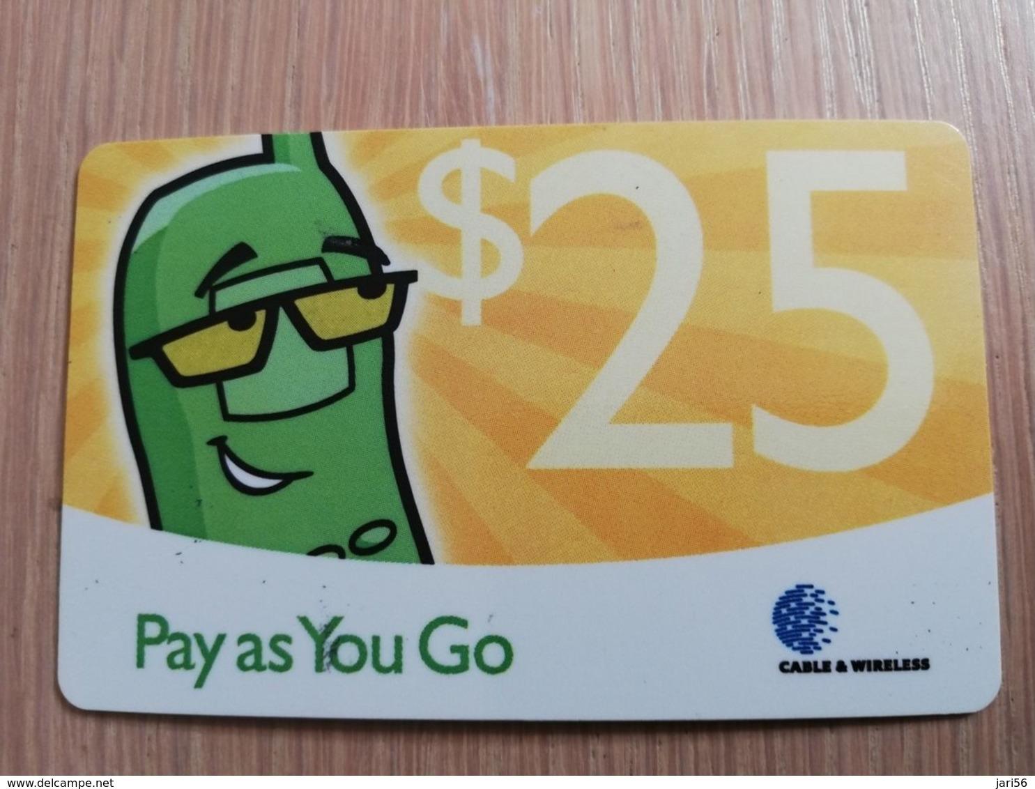 CAYMAN ISLANDS  $25,- PAY AS YOU GO YELLOW  Prepaid  Fine Used Card  ** 2085 ** - Iles Cayman