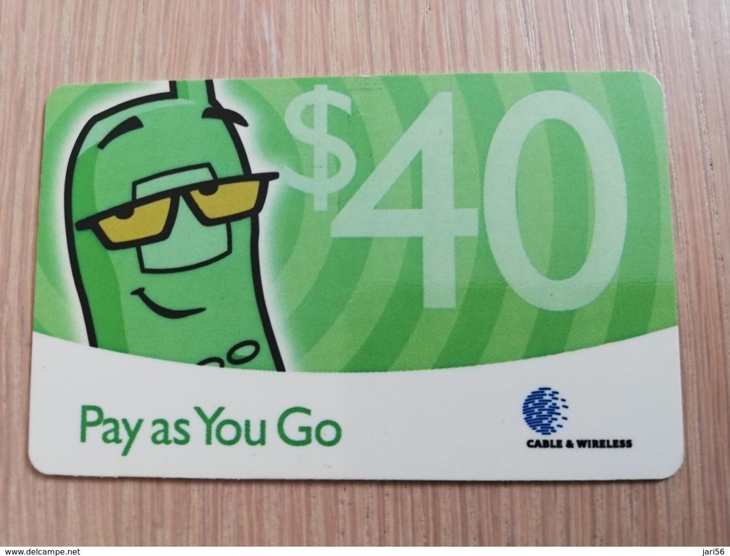 CAYMAN ISLANDS  $40,- PAY AS YOU GO GREEN  Prepaid  Fine Used Card  ** 2086 ** - Iles Cayman