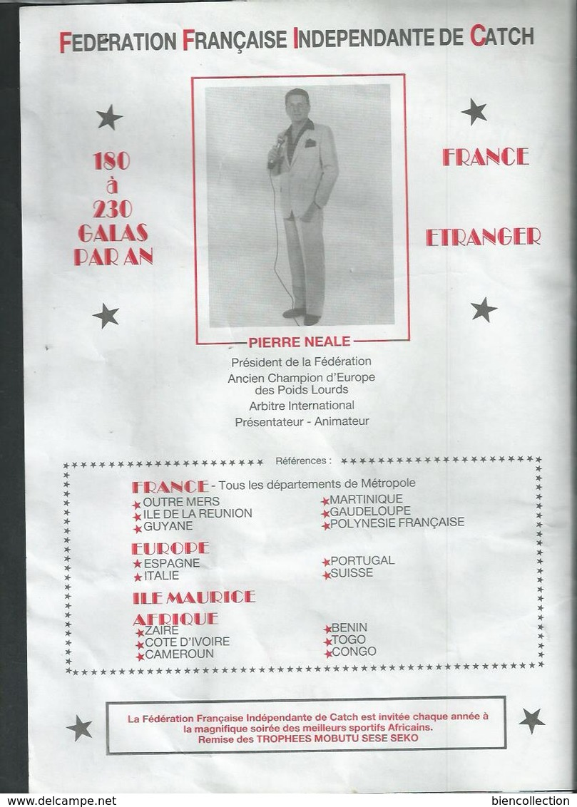 Fédération Française Indépendante De Catch; Programme Des Spectacles.Catcheuses Aux Seins Nus; Pierre Neale à Bordeaux - Programmes