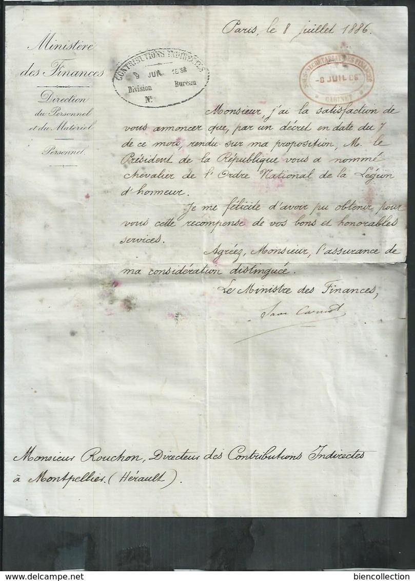 Lettre De Sadi Carnot à Mr Rouchon De Montpellier(Hérault) Attribution De La Médaille De Chevalier De L'ordre Du Mérite - Documenti Storici