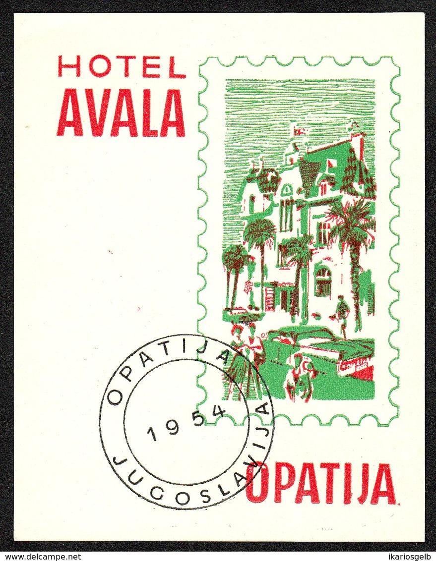 "Hotelaufkleber Etiquette Pour Valise "" Yougoslavia Opatija Hotel Avala "" Kofferaufkleber Luggage Label Adesivi Per Hotel - Etiquetas De Hotel"