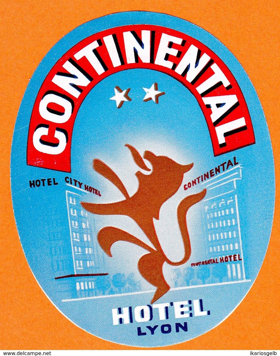 "Hotelaufkleber Etiquette Pour Valise "" France Lyon Hotel Continental "" Kofferaufkleber Luggage Label Adesivi Per Hotel - Etiquetas De Hotel"