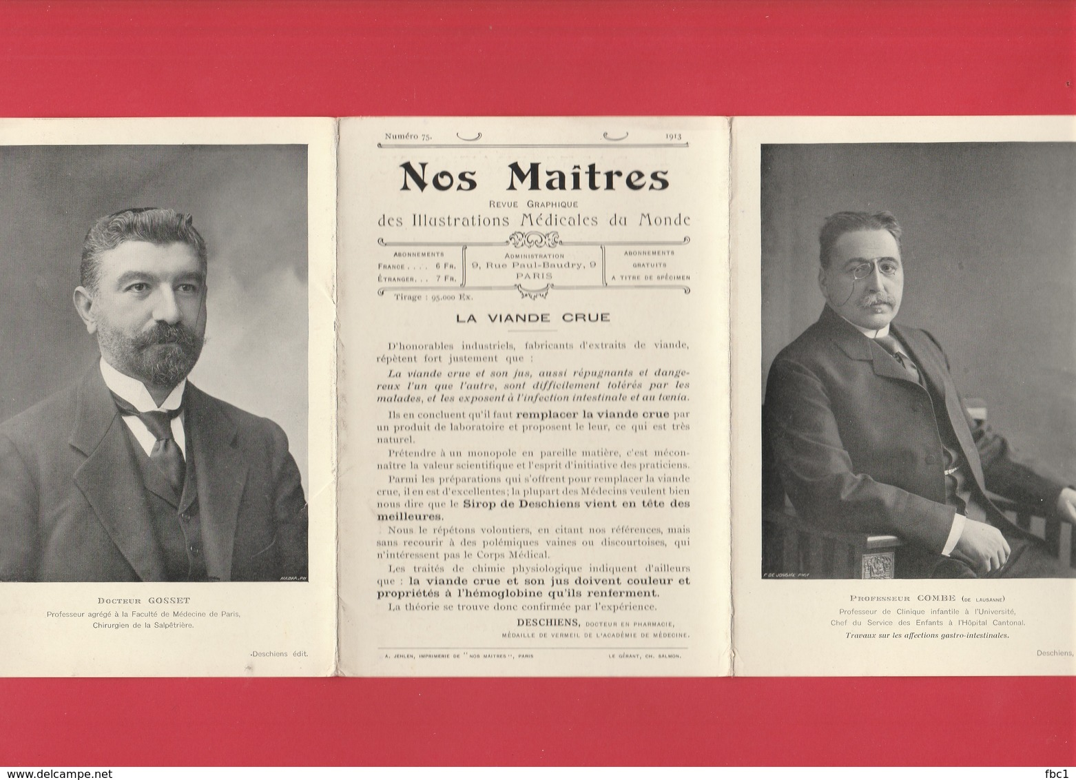 """Livret Triptyque """"Nos Maîtres"""" N°75 (1913) Deschiens -Pr Combe De Lausanne / Dr Gosset -  Médical - Médecine - Books, Magazines, Comics"""