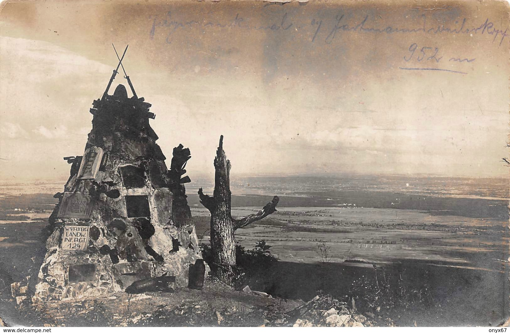 Carte Photo HARTMANNSWILLERKOPF-HARTMANNSWEILER-VIEIL ARMAND-Monument Militaire  Chasseurs Haut-Rhin-Guerre 14/18-Krieg - Otros Municipios