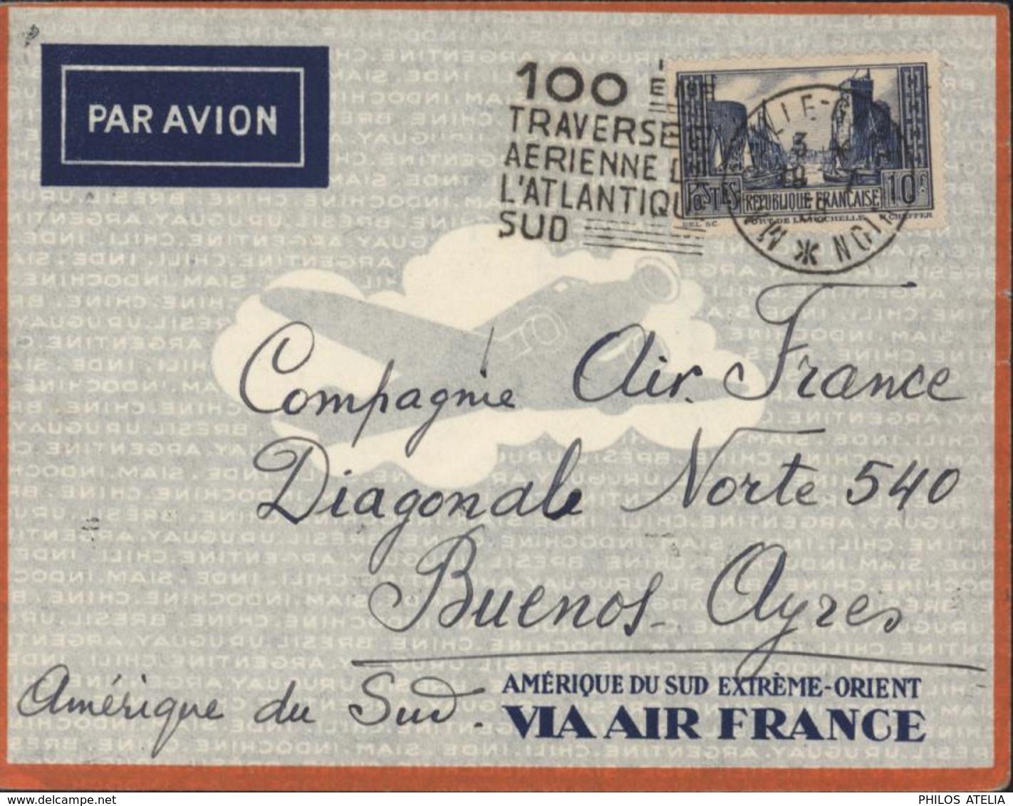 Par Avion Daguin 100ème Traversée Aérienne De L'atlantique Sud Enveloppe Amérique Du Sud Extrême Orient Via Air France - Air Post