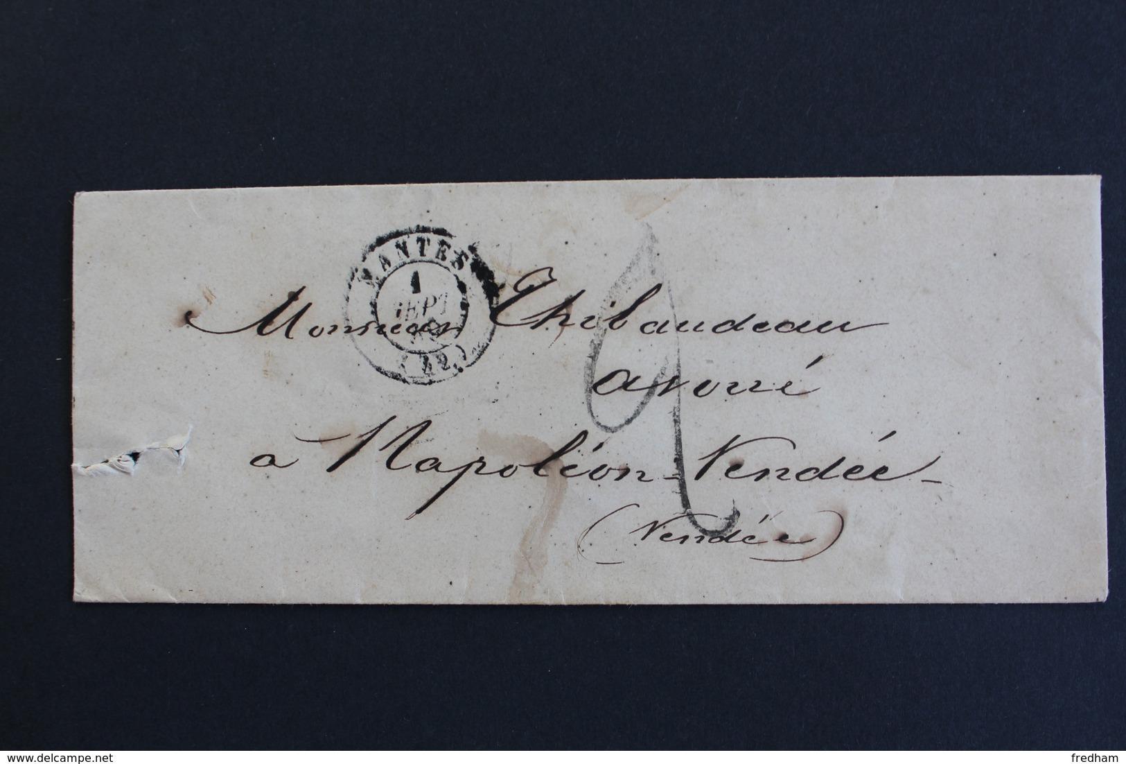 LSC NANTES CAD TYPE 15 DU 1ER SEPT 18? POUR NAPOLEON VENDEE (LA ROCHE/ YON) CAD ARRIVEE TYPE 15 TAXE MANUSCRITE 2 DECI. - 1849-1876: Classic Period