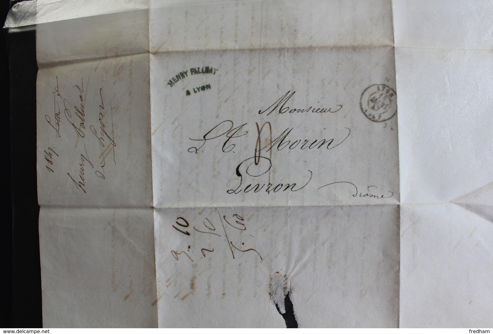 1847 LAC LYON CAD DU 11 MARS 1847 POUR LIVRON TAXE MANUSCRITE 4 DECIMES - 1801-1848: Precursores XIX