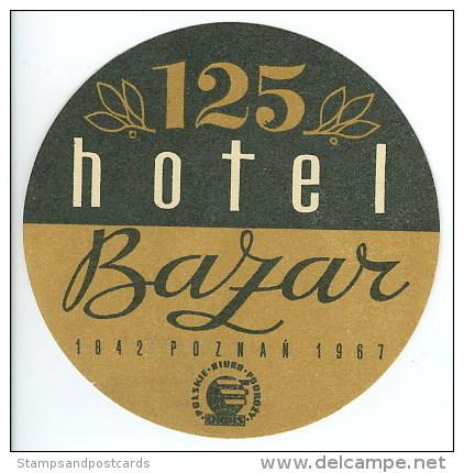 Etiquette Valise Hotel BAZAR Poznan Pologne  Luggage Label Poland - Etiquetas De Hotel