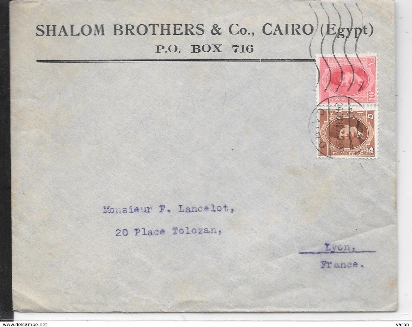 Enveloppe Commerciale SHALOM BROTHERS Cairo -1927 -(Judaïca) IMPORT TAPIS ORIENTAUX FINS FAITS MAIN Pour LYON (France(G2 - Covers & Documents