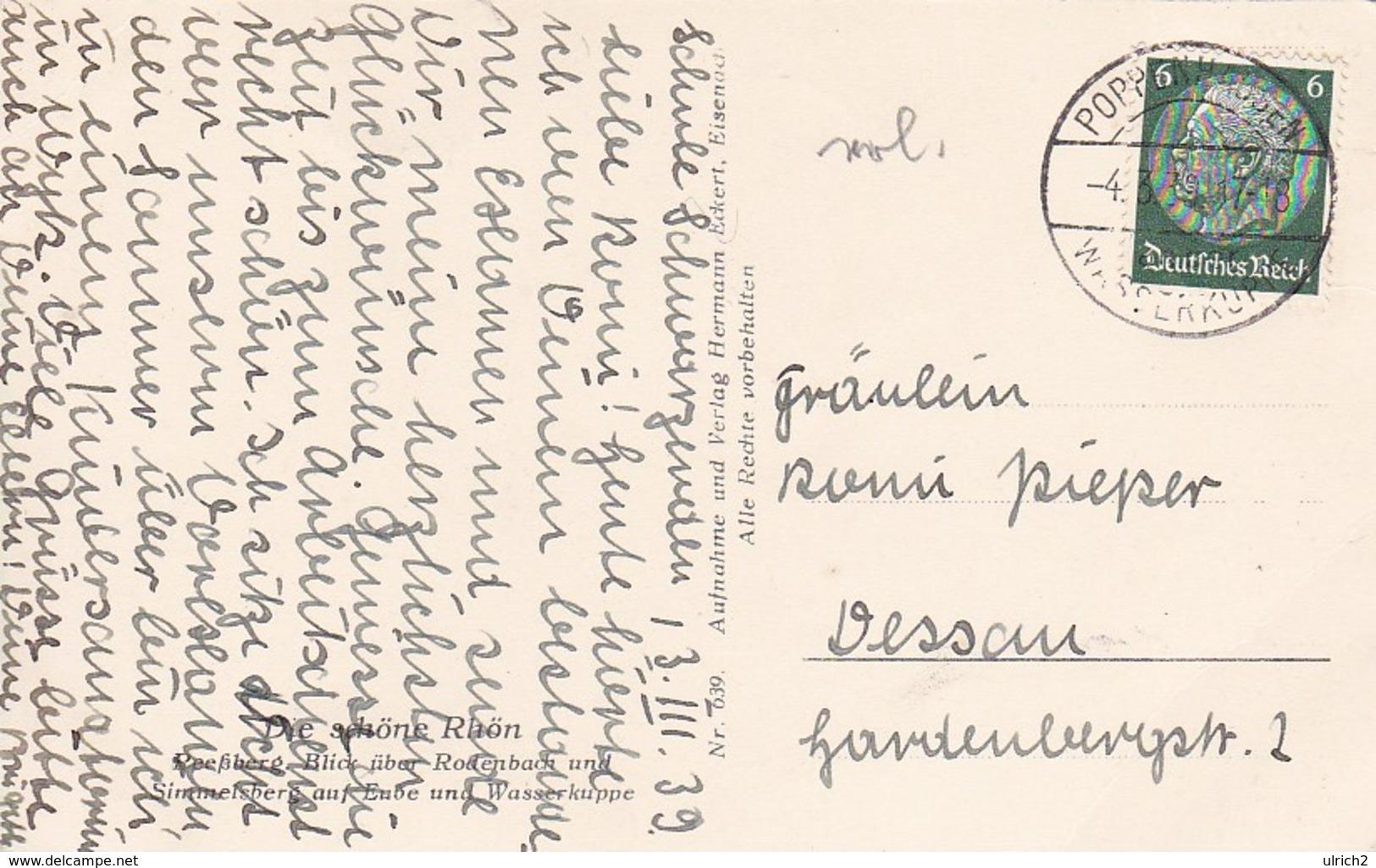 AK Die Schöne Rhön - Reeßberg - Blick über Rodenbach Und Simmelsberg Auf Eube Und Wasserkuppe - 1939 (50403) - Rhön