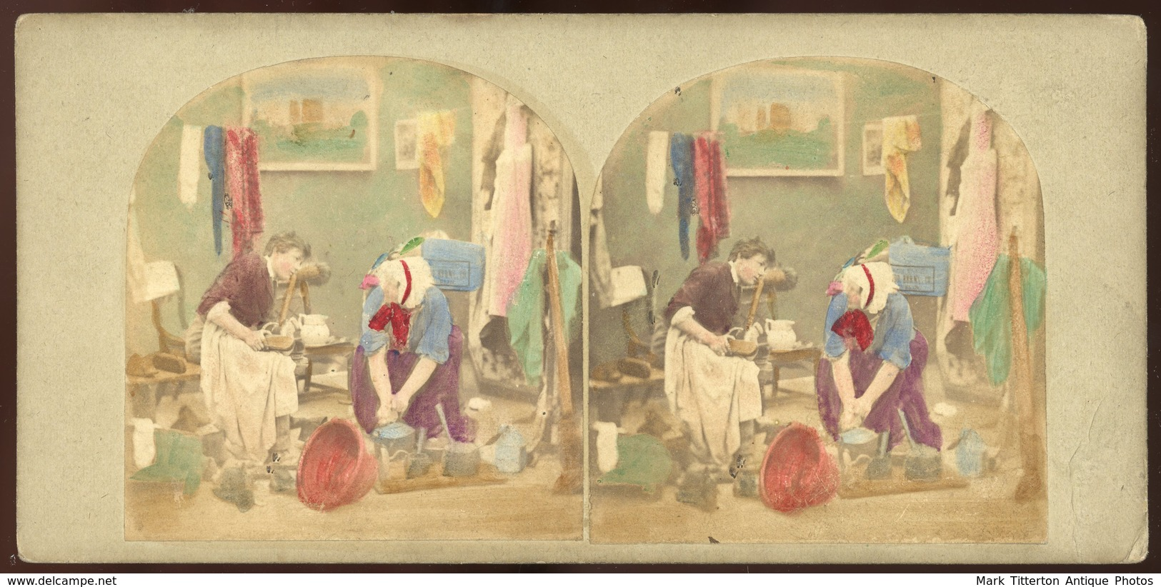 Tinted Stereoview - Scene In Daily Life - Visionneuses Stéréoscopiques