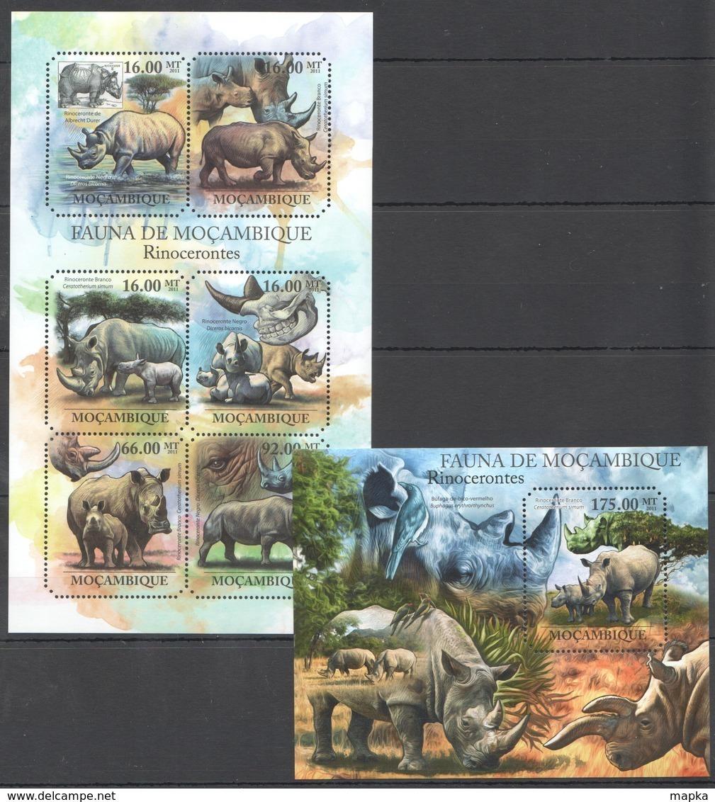 BC1064 2011 MOZAMBIQUE MOCAMBIQUE FAUNA ANIMALS RHINO RINOCERONTES 1SH+1BL MNH - Rinoceronti