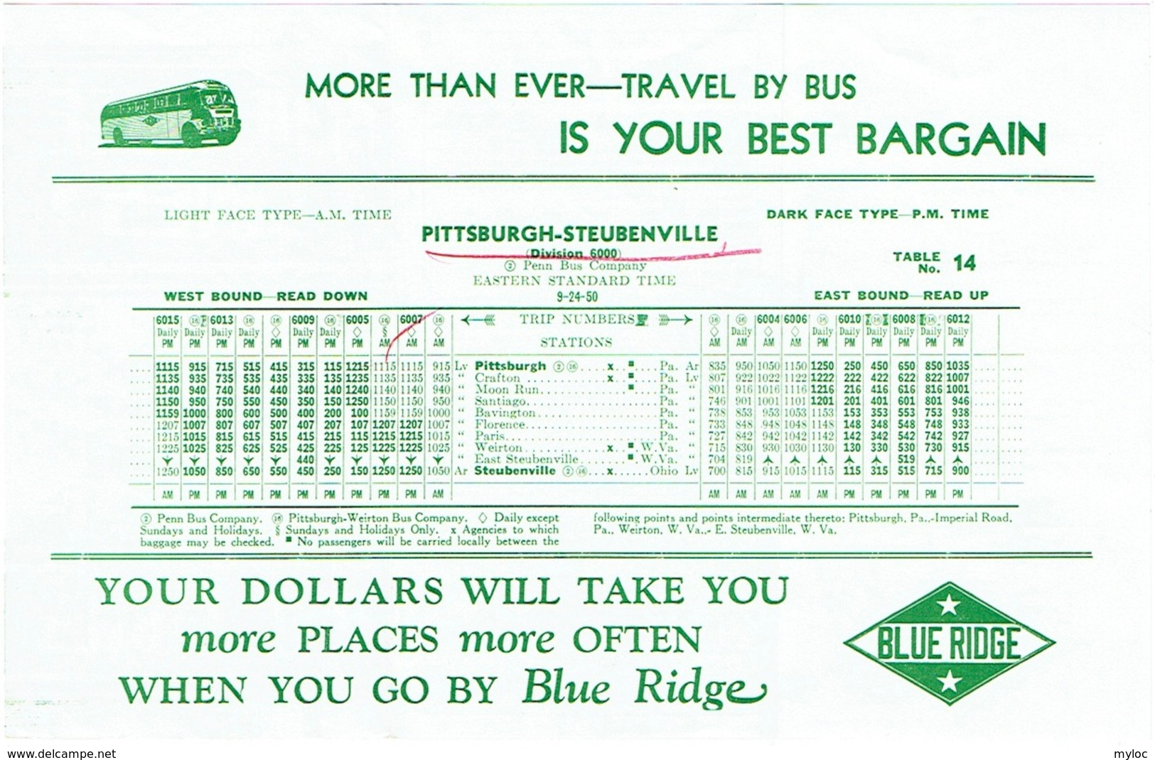Horaire/Time Tables. Pittsburgh/Steubenville. 1950. Bus Blue Ridge Lines. Autobus. - World