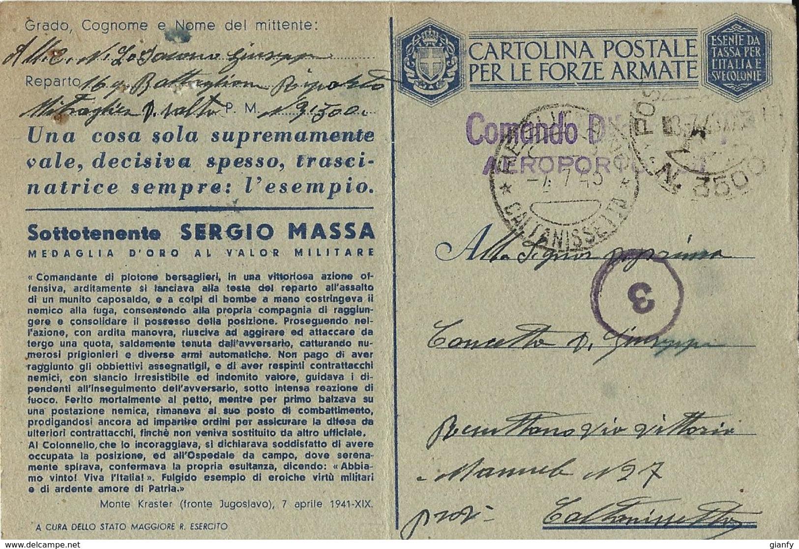 FRANCHIGIA WWII POSTA MILITARE 3500 1943 CONC MESSINA X RESUTTANO MEDAGLIA ORO MASSA - Military Mail (PM)