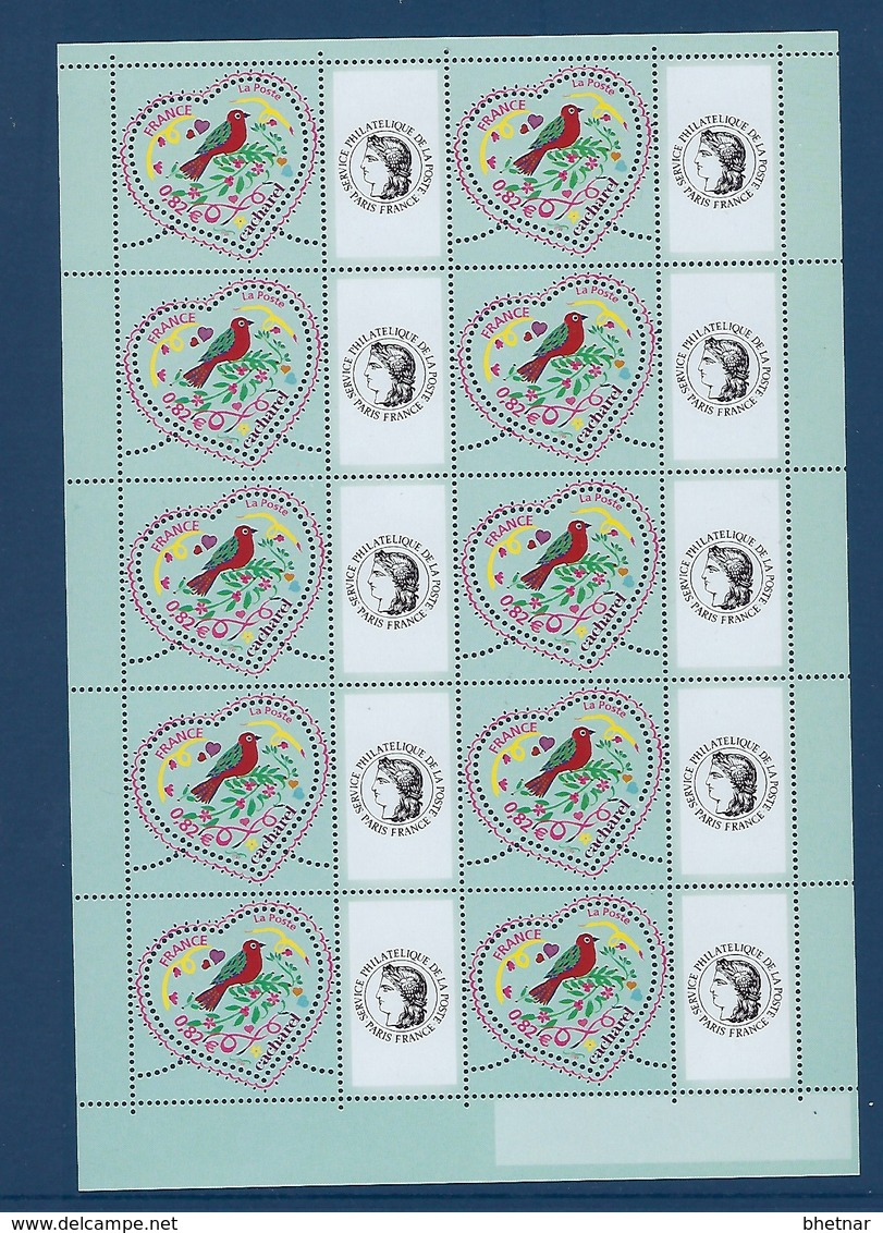 """FR Personnalisés YT 3748A Feuille """" Coeurs Cacharel - Ceres """" 2005 Neuf** - Personalized Stamps"""
