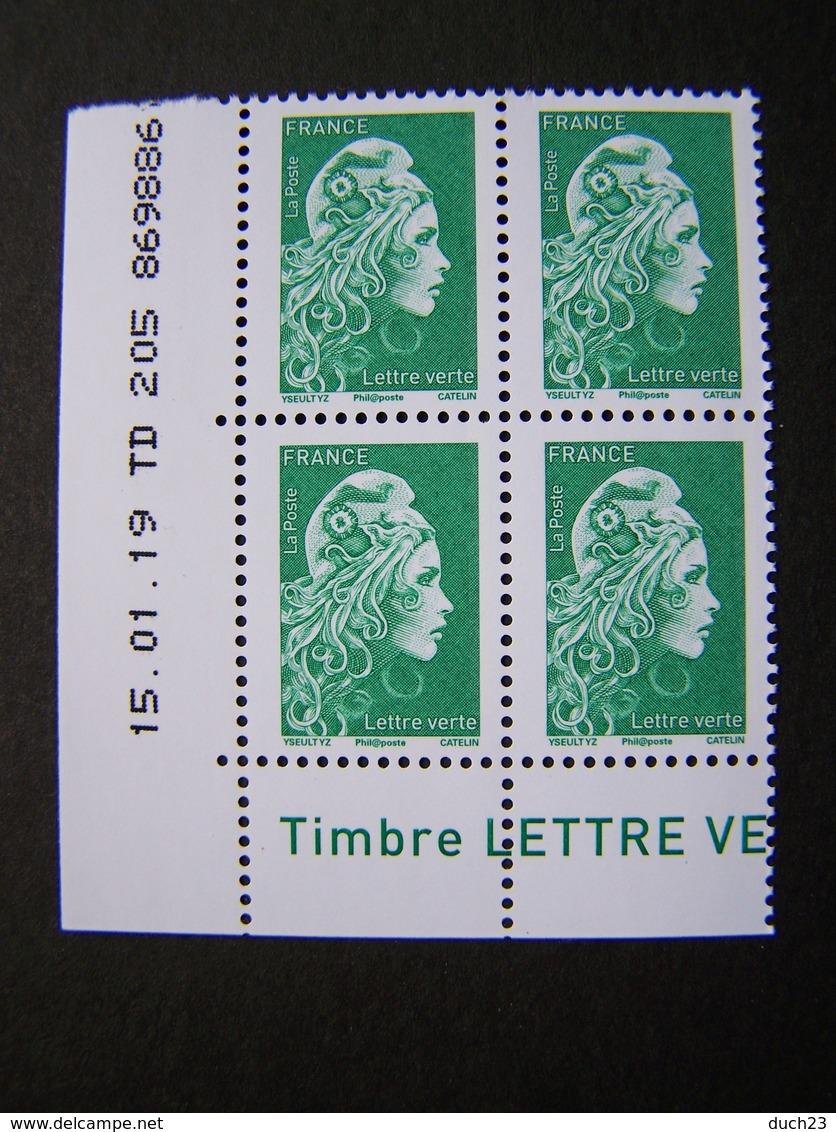 MARIANNE** 2018 N° 5252 TVP VERT LETTRE VERTE GOMMEE L'ENGAGEE D'YSEULT YZ COIN DATE DU 15.01.19 - 2010-....
