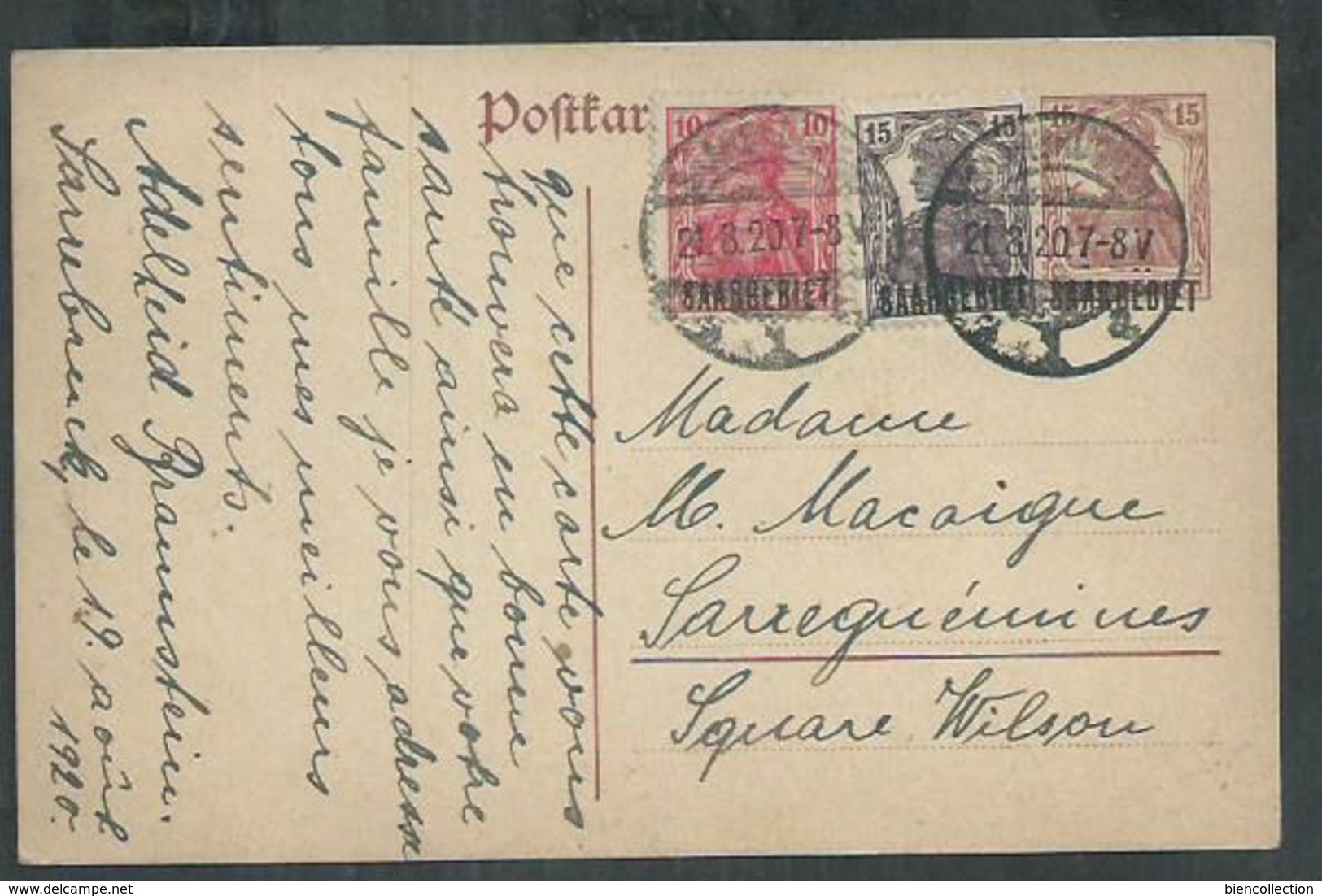 Sarre. Entier Postal , Postal Stationnery Pour Sarreguemines - 1920-35 Saargebied -onder Volkenbond