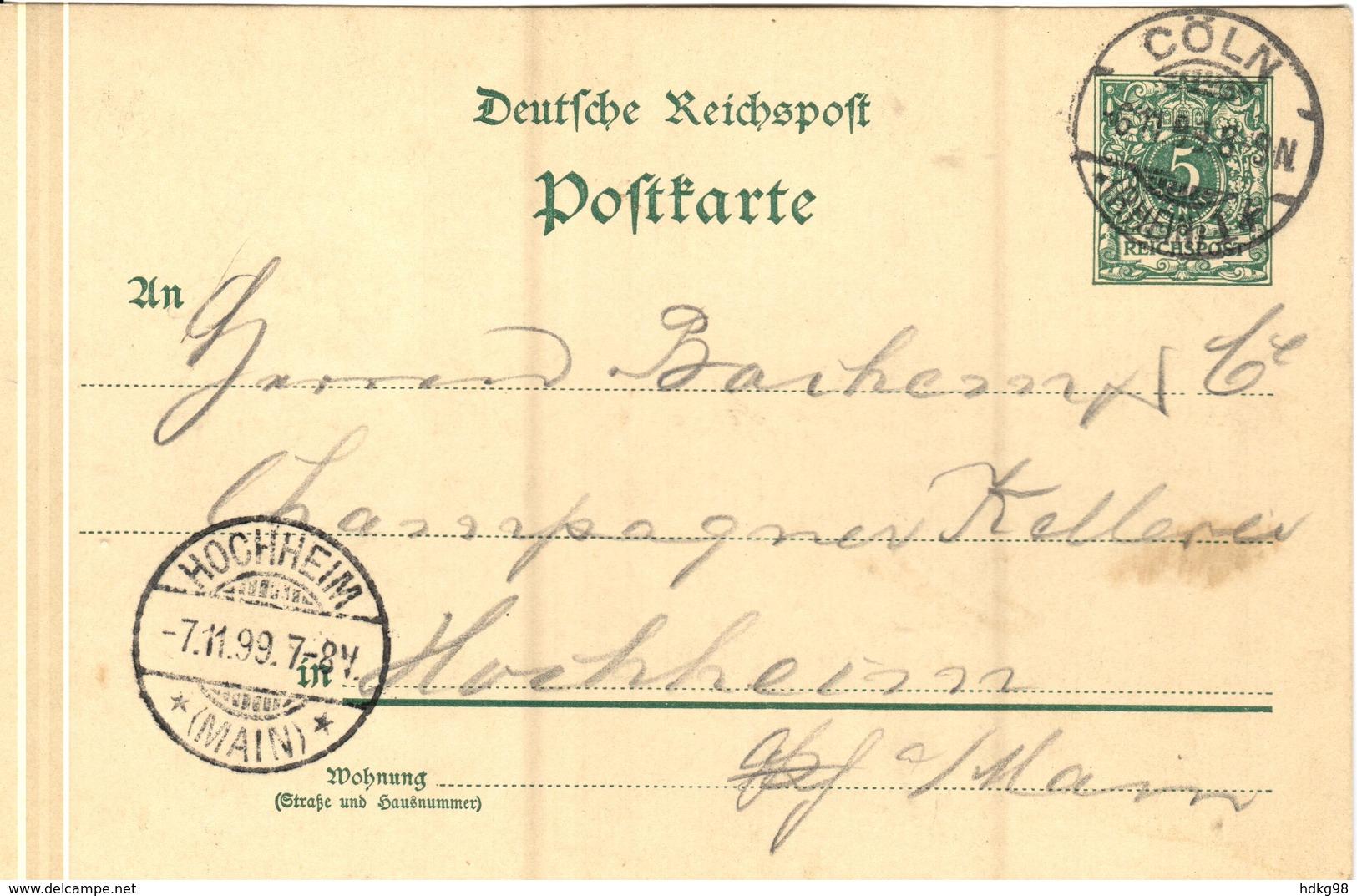 DR+ Deutsches Reich 1889 Mi 46 Ziffermarke Auf PK Stempel Cöln 6.11.99 GH - Briefe U. Dokumente