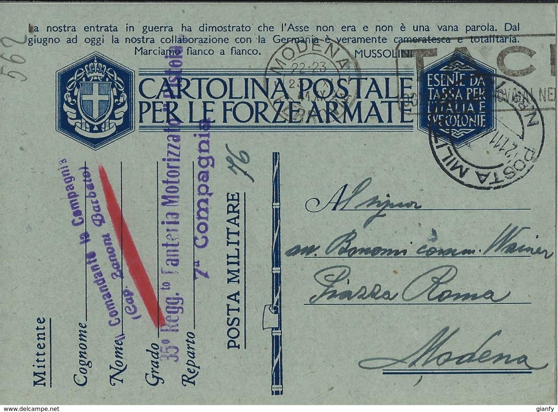 FRANCHIGIA WWII POSTA MILITARE 76 1941 COSENZA X MODENA - Military Mail (PM)