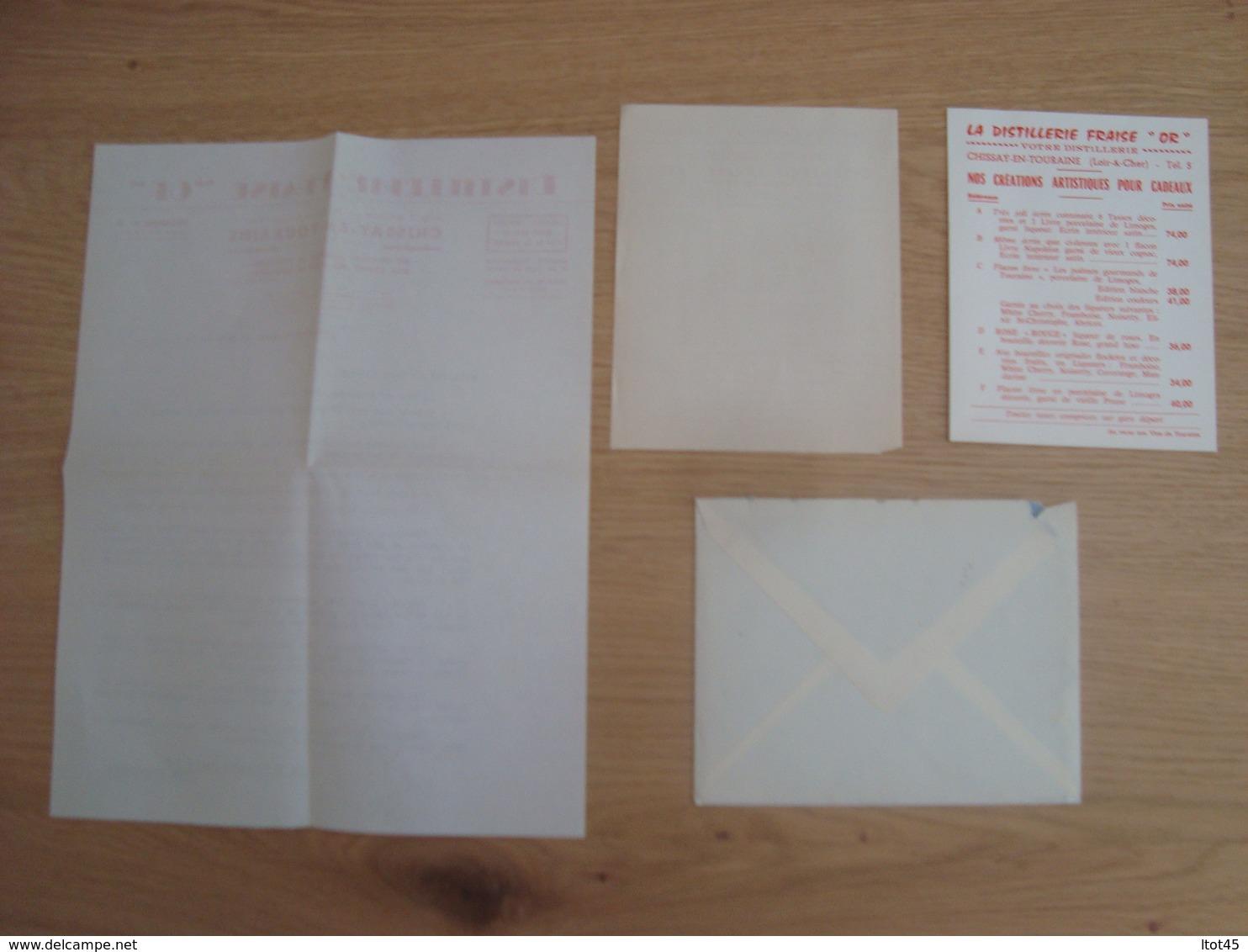 "ENVELOPPE + DOCUMENT DISTILLERIE FRAISE ""OR"" CHISSAY-EN-TOURAINE - Marcophilie (Lettres)"