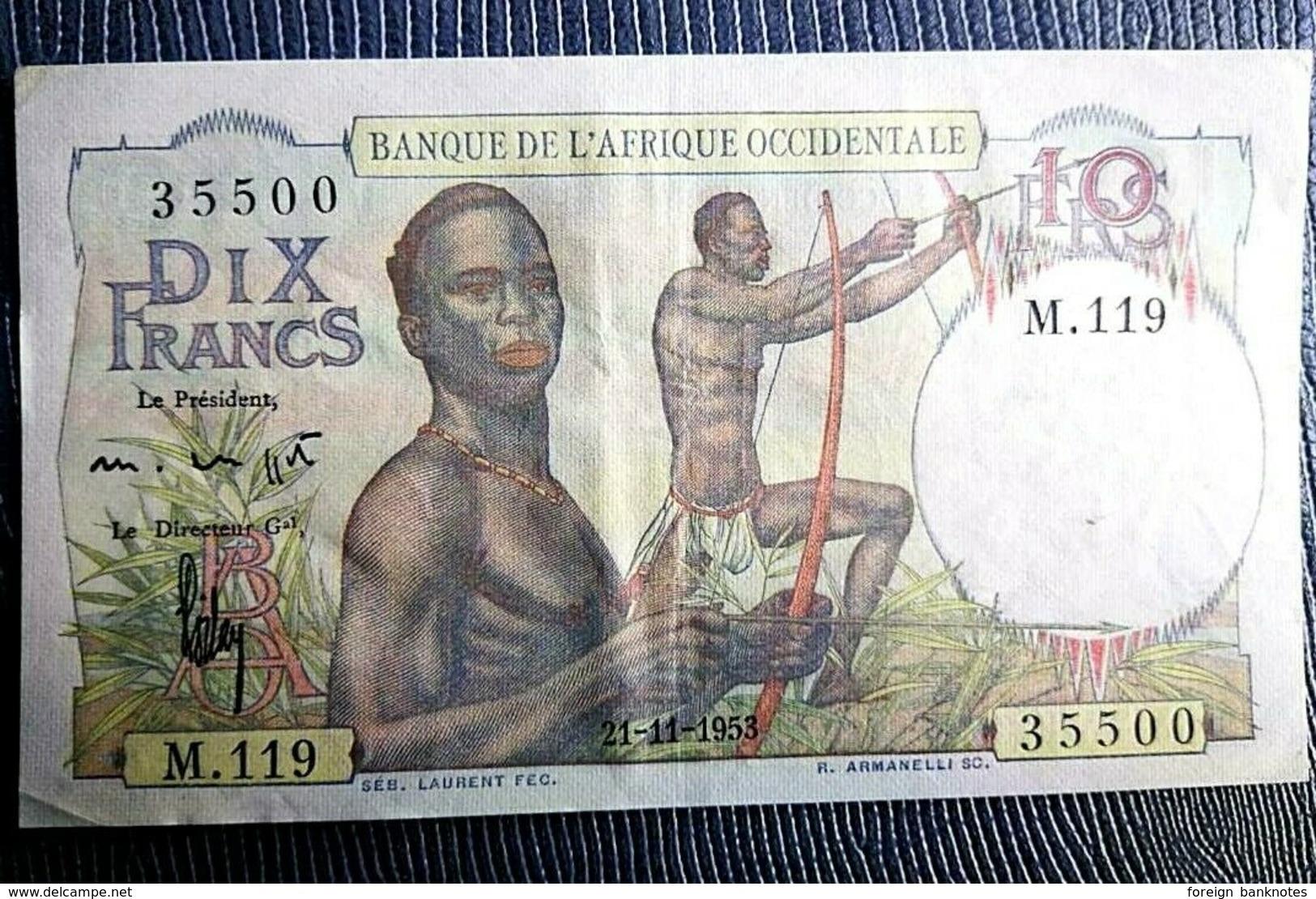 AUNC- ✅ Hard To Get Grade ✅ P-37 ⚜️ French West Africa 10 Francs 1953 ⚜️ - Bankbiljetten