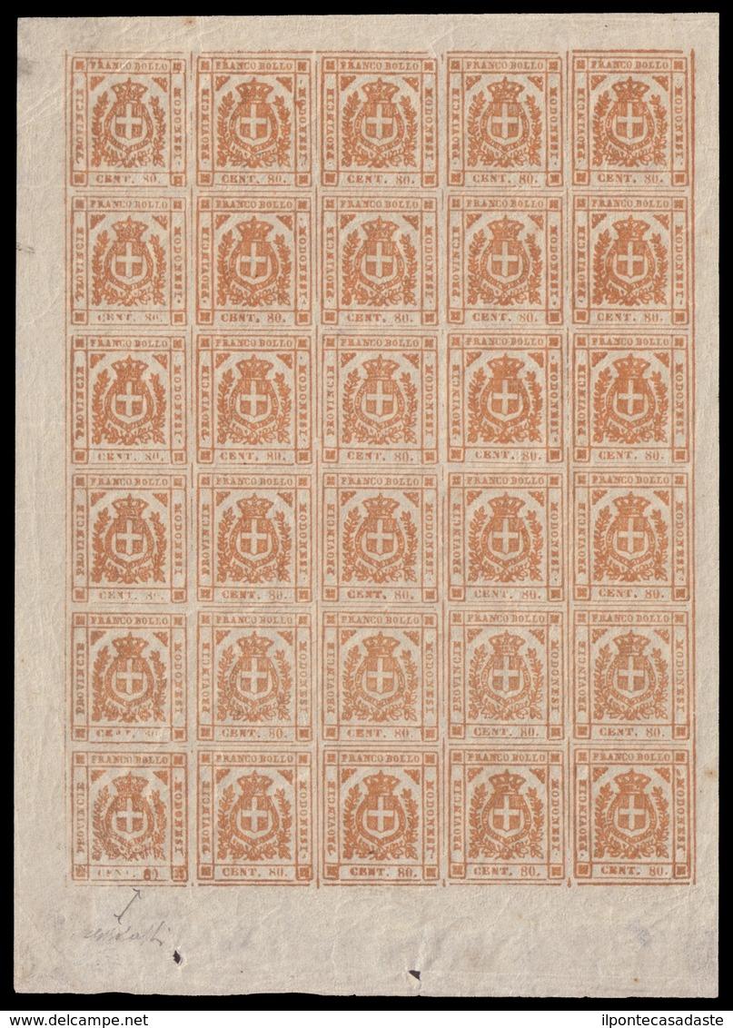 MNH/MH ) MODENA 1859 | Governo Provvisorio. | 80c. Bistro Arancio, Blocco Di 30 Esemplari Corrispondente Ad - Modène