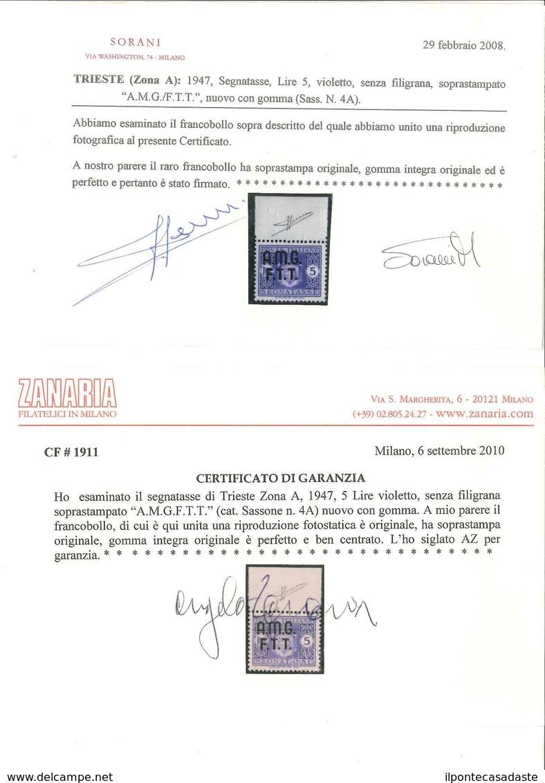 MNH ) TRIESTE A 1947   Segnatasse. 5 Lire Violetto, Senza Filigrana, Bordo Di Foglio Superiore   Provenie - Trieste