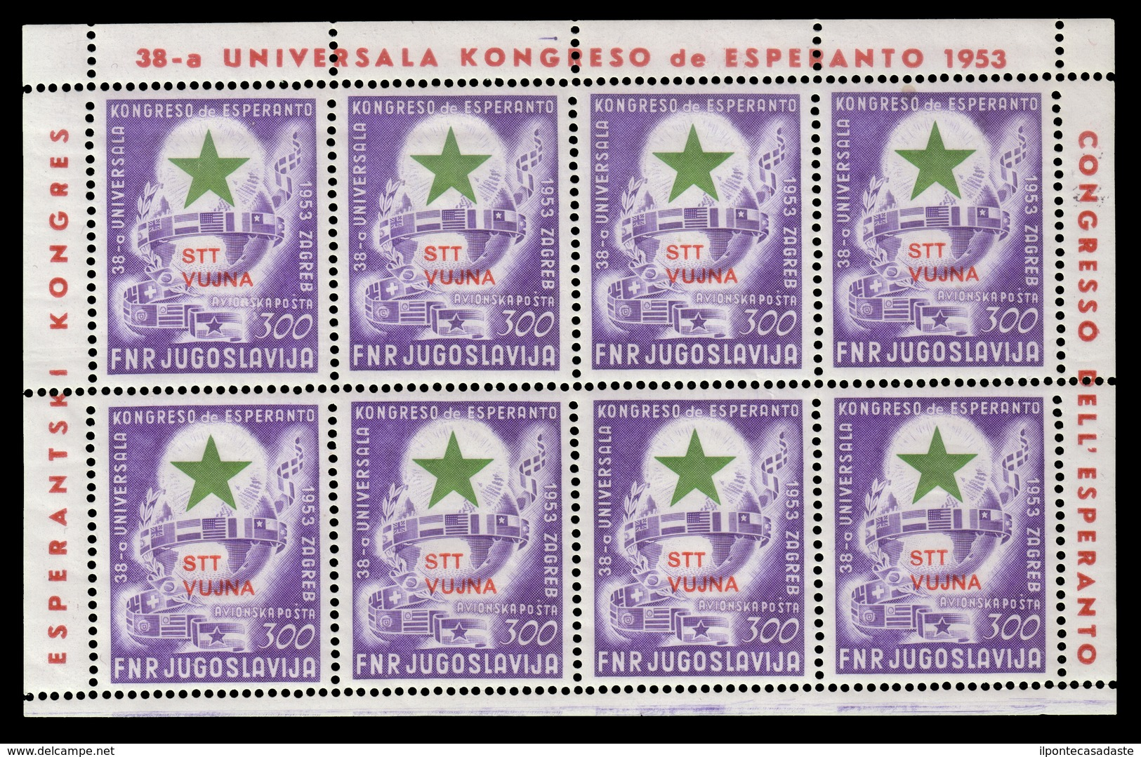 "MNH ) TRIESTE B 1953 | Foglietto Posta Aerea. 300d. Lilla E Verde ""Esperanto"" Soprastampato ""STT / VUJNA"" - Trieste"