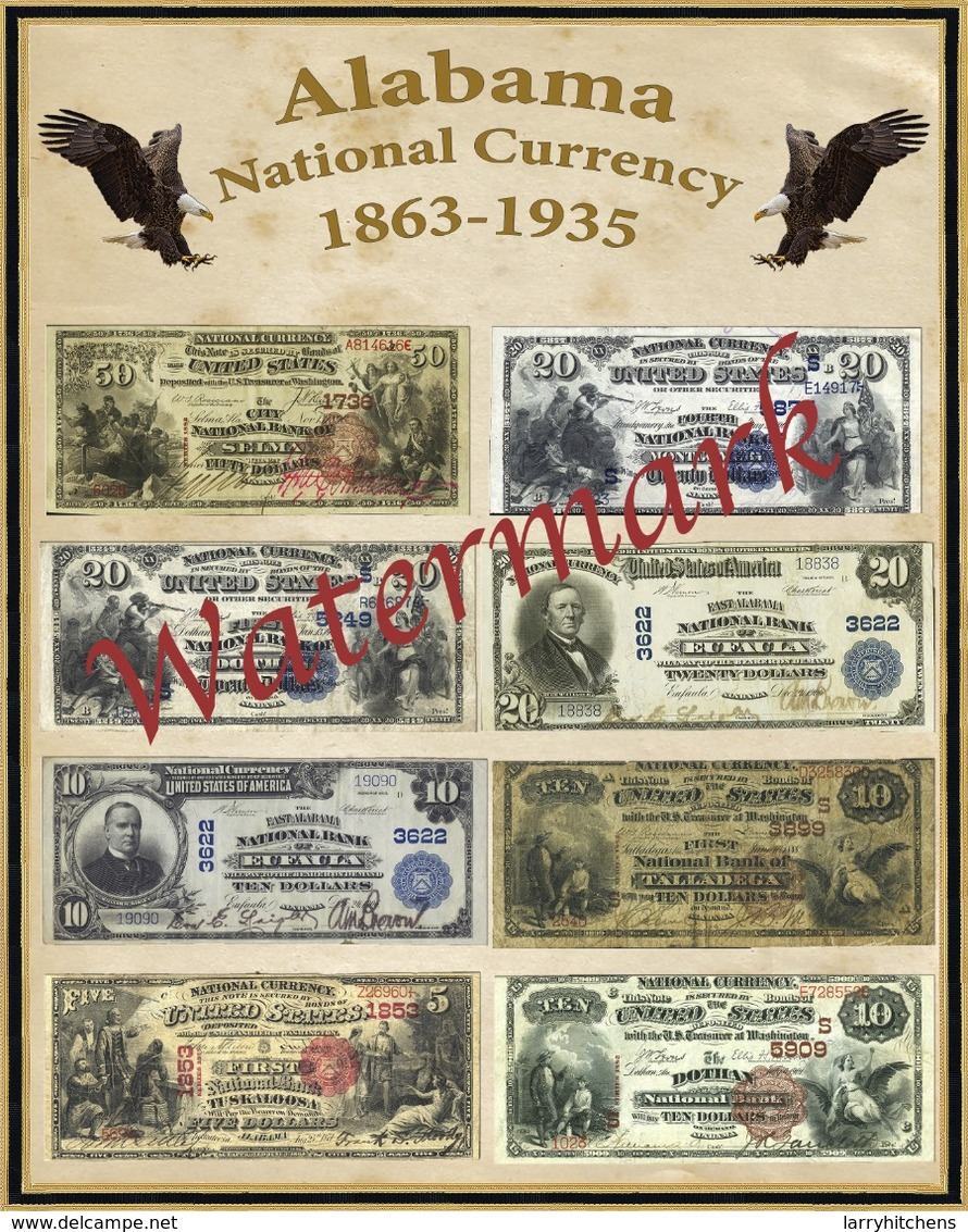 """Poster 16"""" X 20"""" Alabama National Currency Notes From 1863-1935 - Alabama"""