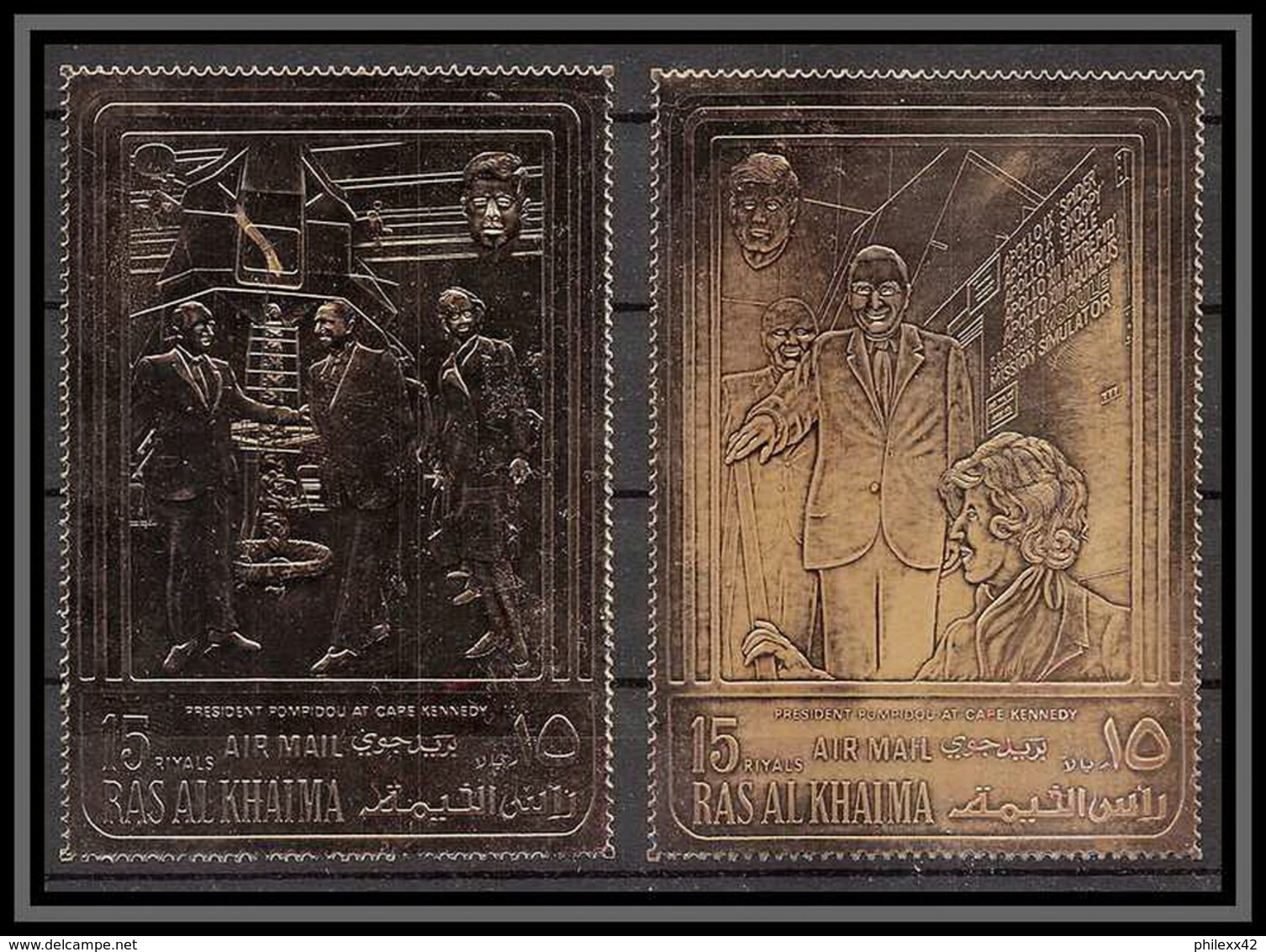 Ras Al Khaima - 718/ N°770 / 779 A Pompidou Usa Kennedy Espace Space Apollo Timbres OR Gold Stamps Cachet Rouge - Ras Al-Khaima