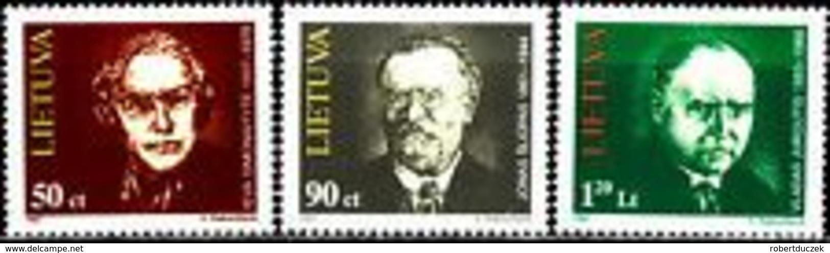 Lithuania 1997 Persons Of Lithuanian Culture. Mi 627-29. MNH** - Lituania