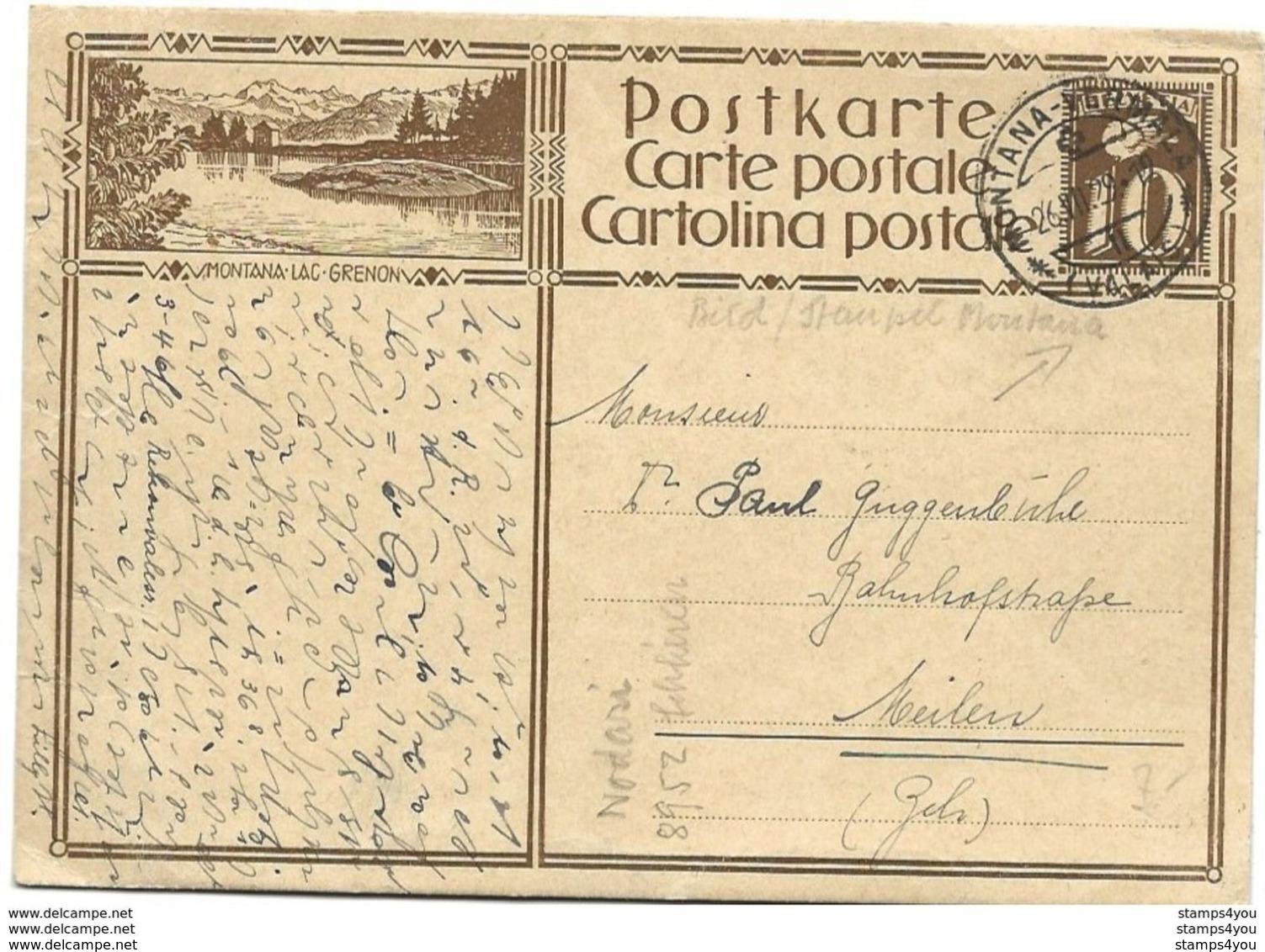 "160 - 60 - Entier Postal Avec Illustration ""Montana Lac Grenon"" - Cachet à Date Montana 1929 - Stamped Stationery"