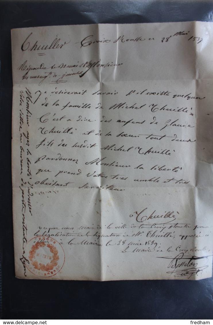1839,LAC LYON CAD 28/05/1839 POUR BOURGOIN  CAD ARRIVEE TYPE 12 DU 29/05/1839  MARQUE ROUGE DU PORT PAYE... - 1801-1848: Precursores XIX