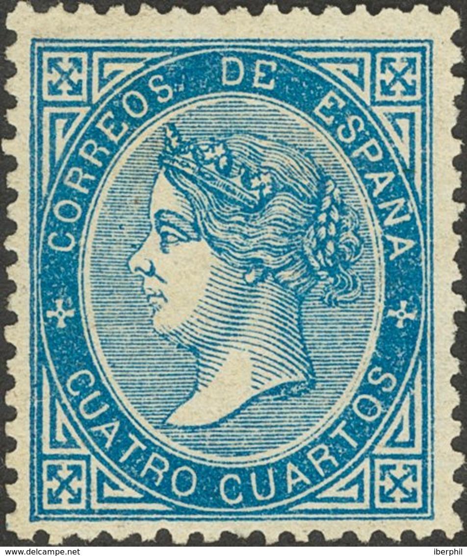 (*)88. 1867. 4 Cuartos Azul. MAGNIFICO. - España