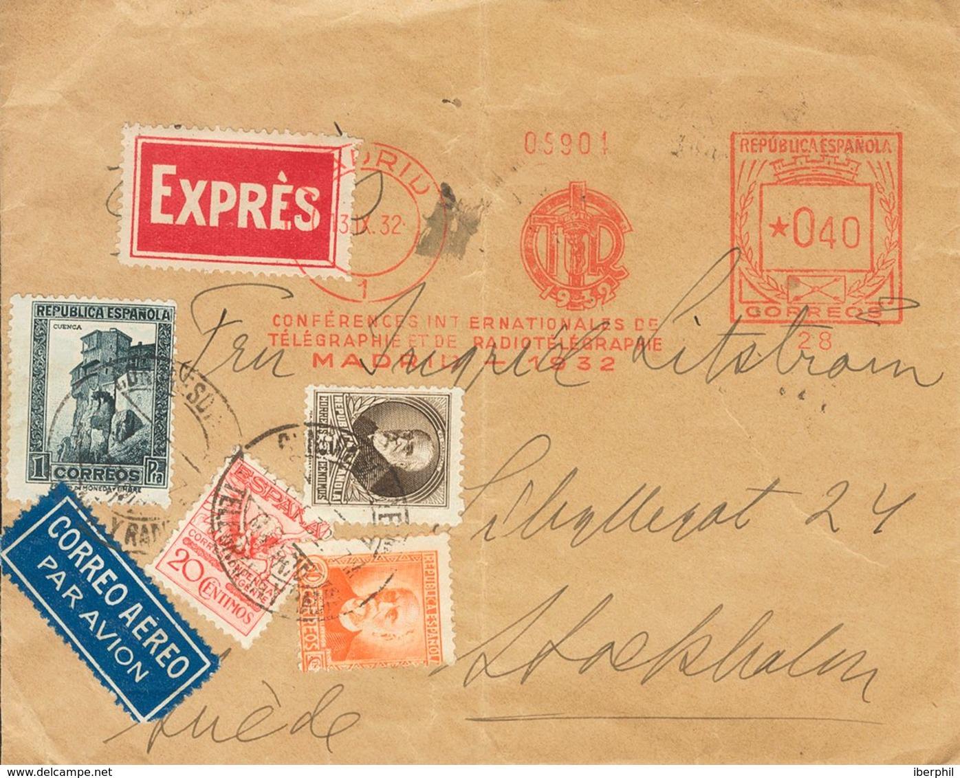Sobre 676, 663, 671, 673. 1932. 20 Cts Rosa Rojo, 5 Cts Castaño, 50 Cts Naranja, 1 Pts Pizarra Y Franqueo Mecánico De 40 - Spanien