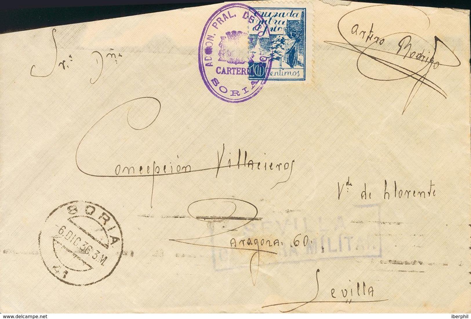 Sobre . 1936. 10 Cts Azul CRUZADA CONTRA EL FRIO. SORIA A SEVILLA (falta Parte De La Esquina Izquierda Sin Importancia). - Spanien