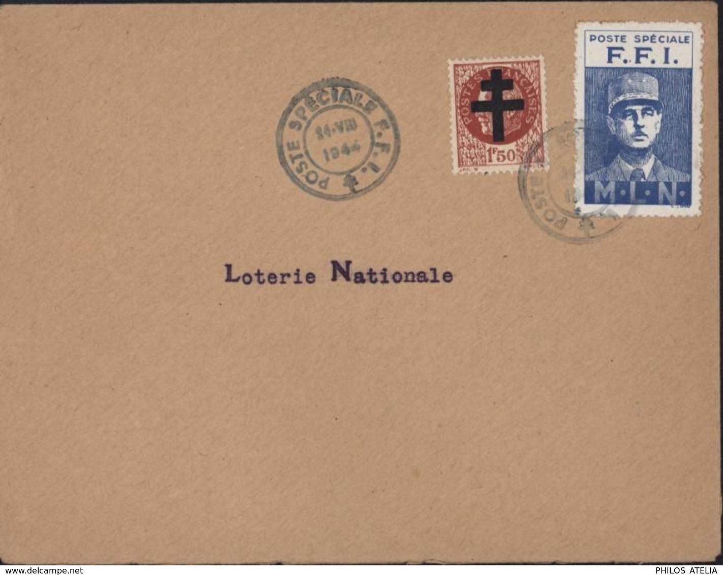 Guerre 39 45 Libération Paris Mayer N°4 Emission MLN De Gaulle Cachet Poste Spéciale F.F.I 24 VII 44 Loterie Nationale - WW II