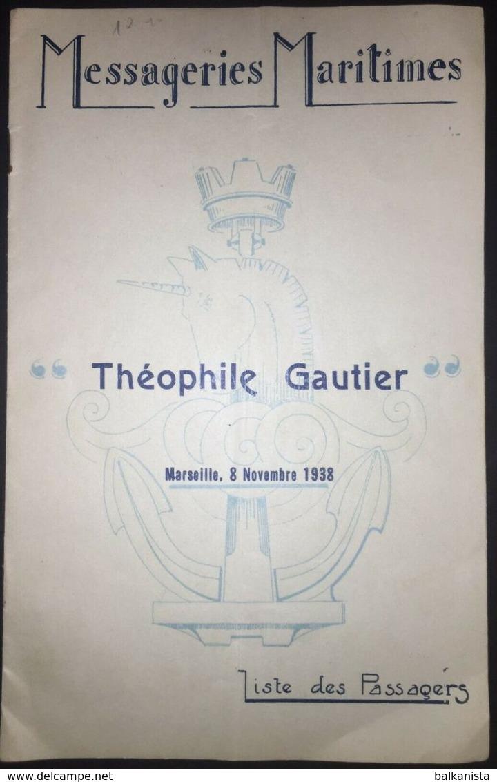Messageries Maritime Theophile Gautier Marseille 8 Novembre 1938 Passenger List - World