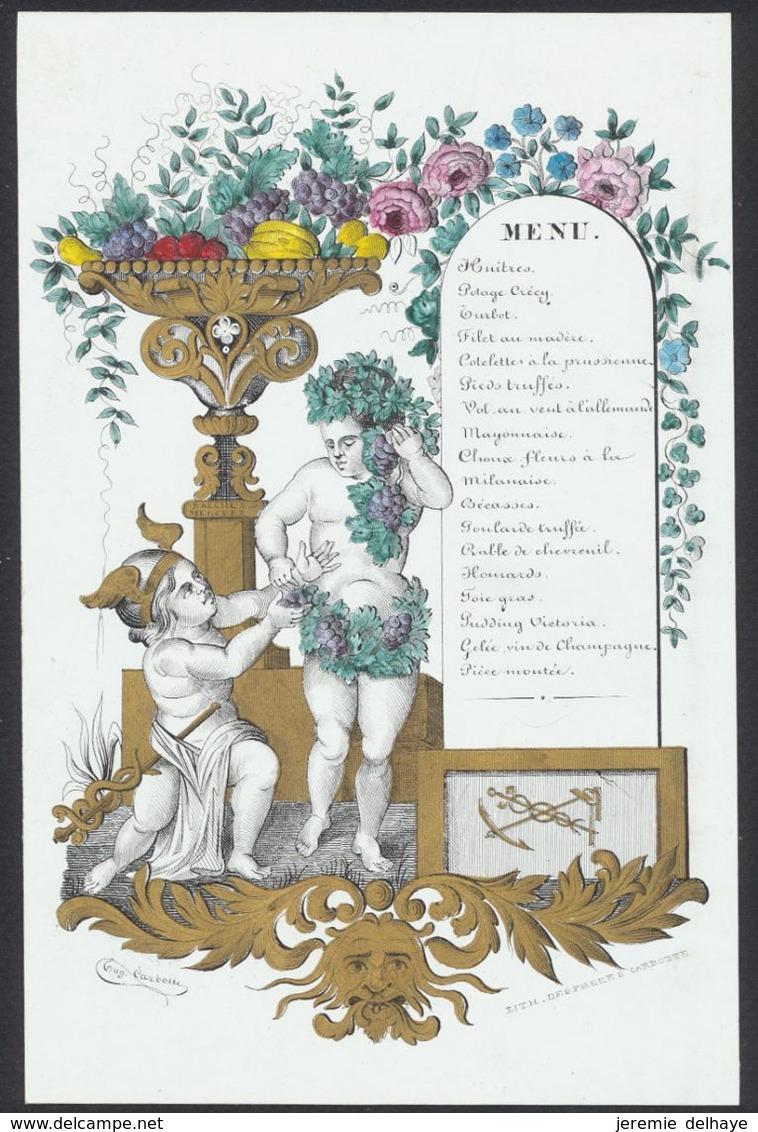 """Belgique - Menu En Porcelaine Illustré """"Bachus & Mercure"""" (Couleur, Namur ?). A Voir, Bon état ! - Menus"""