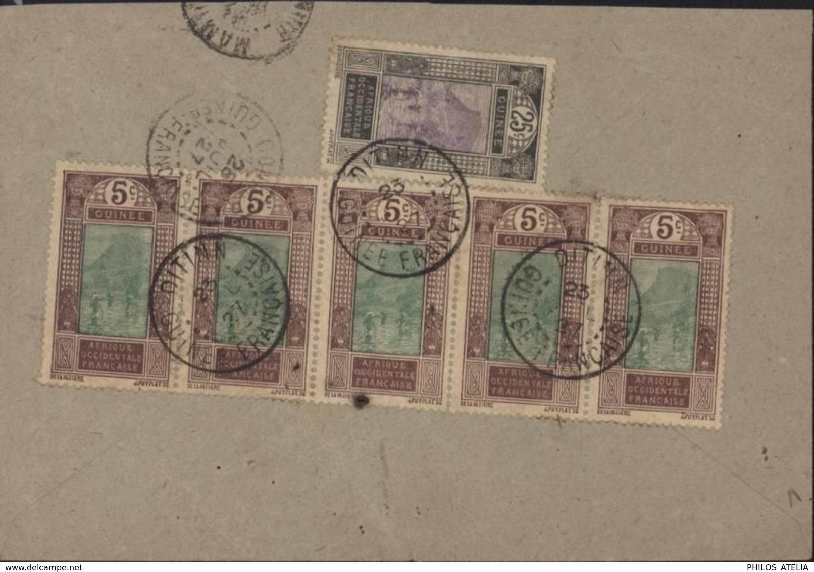 Guinée YT 84 X5 + 89 CAD Ditinn Diting Guinée Française 23 JUIL 27 Arrivée Conakry 25 JUIL 27 - Covers & Documents