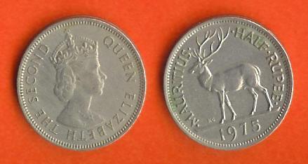MAURITIUS 1975 Coin 1/2 Rupee Copper Nickel C078 - Maurice