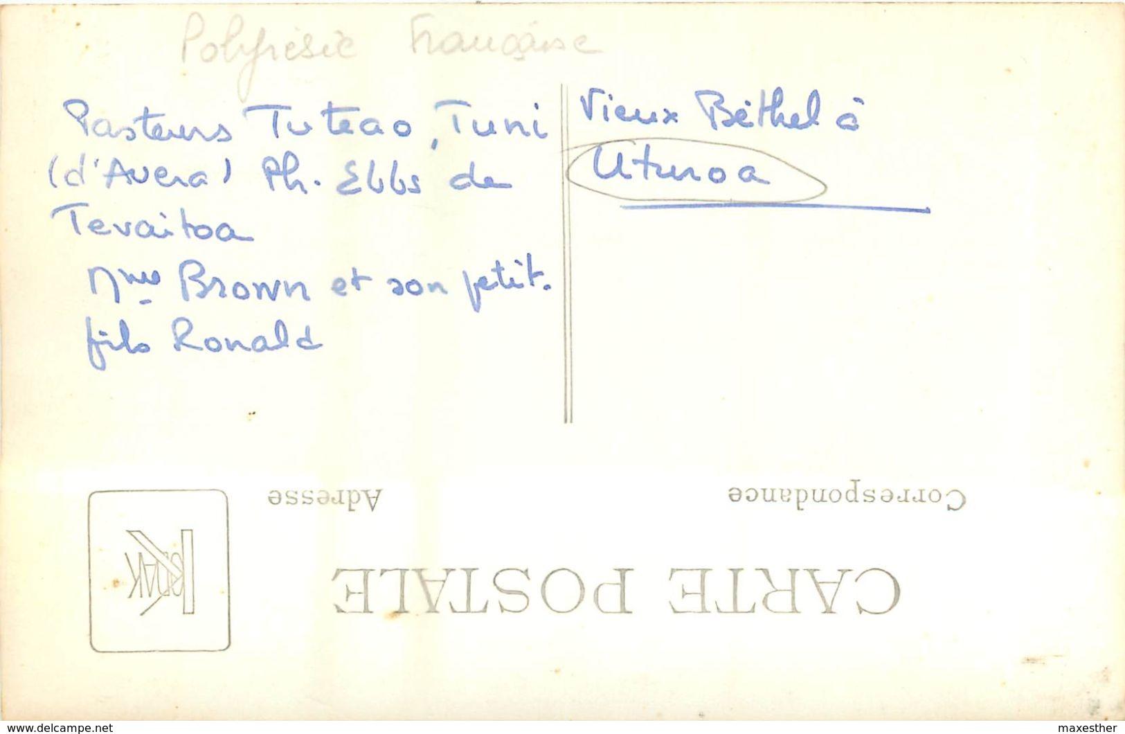 UTUROA Pasteurs Au Temple De Bethel - Carte Photo - - Frans-Polynesië