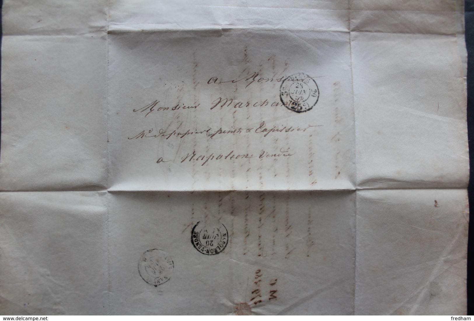 1854 PARIS CAD 28/06/54 PORT DÛ 25C POUR NAPOLEON VENDEE CAD ARRIVEE DU 29/06 AMB PARIS A NANTES DU 28/06/54 - 1849-1876: Periodo Clásico