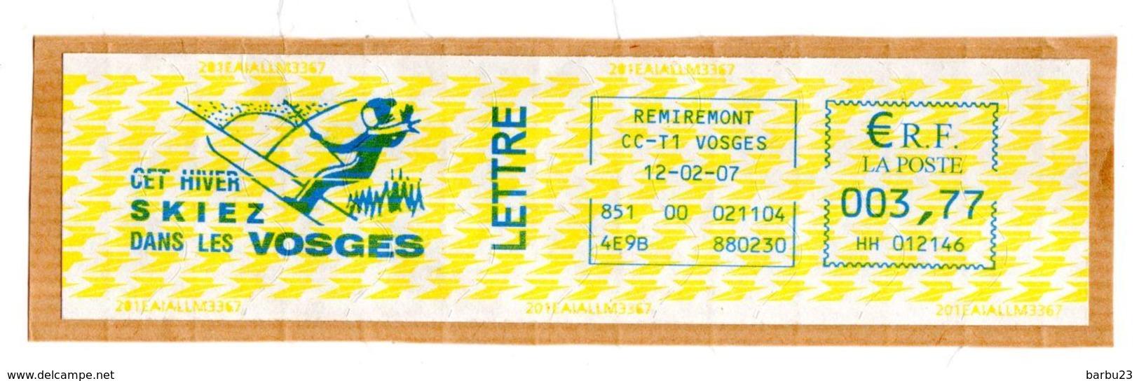 Affranchissement EMA Bleu 3,77€  Cet Hiver Skiez Dans Les Vosges Oblitération 12/02/207 Sur Fragment - EMA (Print Machine)