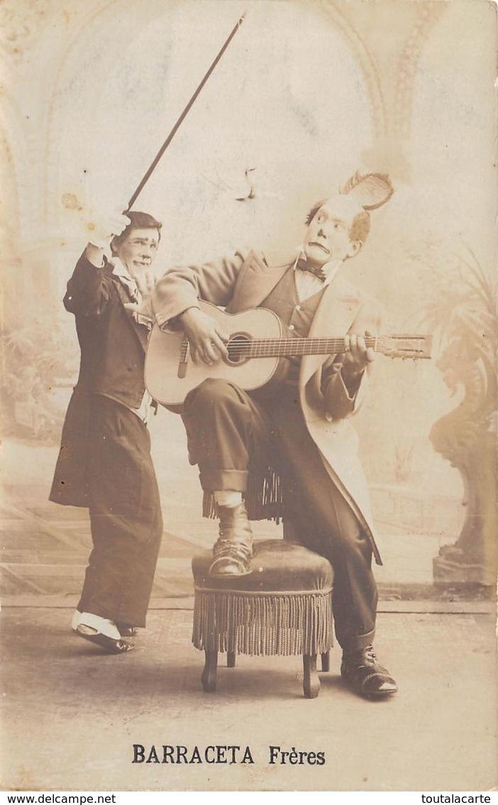CARTE PHOTO BARRACETA FRERES ... RARE .....CLOWNS CIRQUE  Cirque Espagnol à Voiron à Coté De Lyon - Cirque