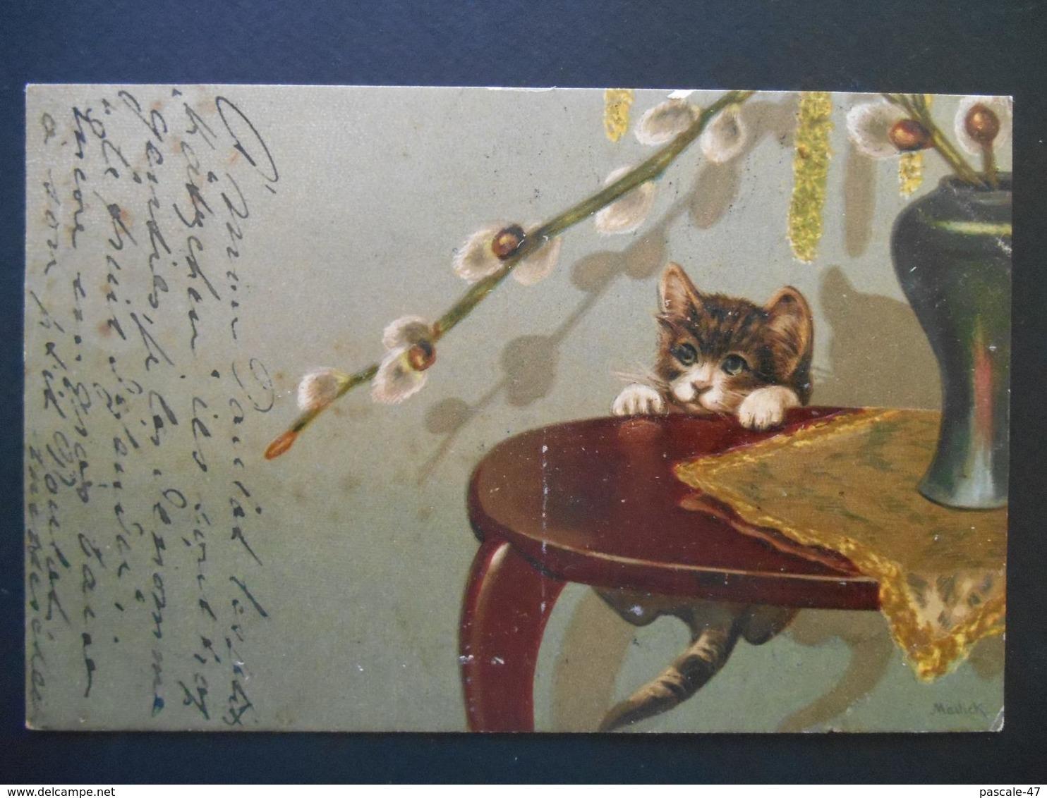 Chaton Essayant De Monter Sur Un Guéridon Avec Un Vase - Gaufrée - Série 5652 - Chats